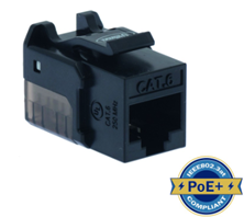 ULTIMA CAT6 KEYSTONE JACK PUNCHDOWN 90 DEGREE BLACK