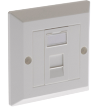 ULTIMA CAT5E 1X EURO BEVELLED FACEPLATE SINGLE GANG ASSEMBLED OUTLET
