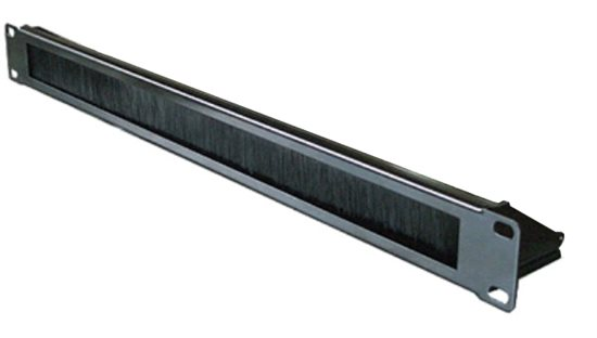 1U BRUSH STRIP PANEL BLACK