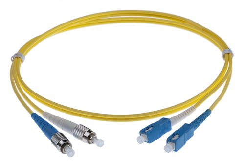 15M FC-SC SINGLEMODE OS2 DUPLEX FIBRE OPTIC PATCH LEADS, YELLOW