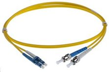 10M LC-ST SINGLEMODE OS2 DUPLEX FIBRE OPTIC PATCH LEADS, YELLOW