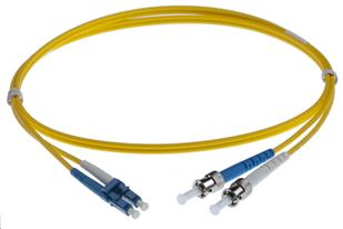 20M LC-ST SINGLEMODE OS2 DUPLEX FIBRE OPTIC PATCH LEADS, YELLOW
