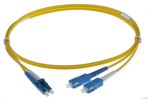 1M LC-SC SINGLEMODE OS2 DUPLEX FIBRE OPTIC PATCH LEADS, YELLOW