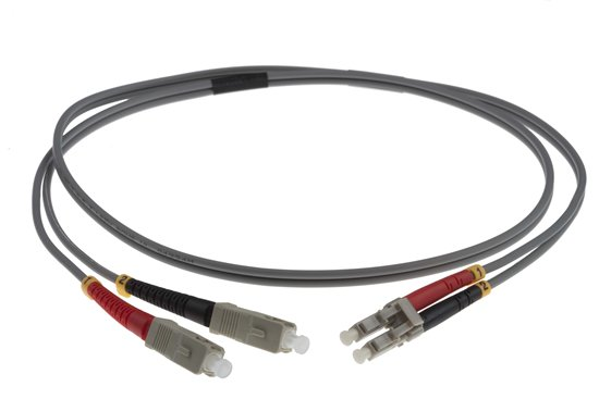 1M LC-SC 62.5-125UM DUPLEX FIBRE OPTIC PATCH LEADS, GREY