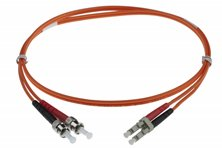2M LC-ST 50-125UM DUPLEX FIBRE OPTIC PATCH LEADS, ORANGE