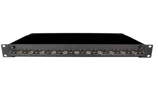 "1U 19"" SC FRONT SLIDING PATCH PANEL LOADED WITH 6 SC DUPLEX MULTIMODE ADAPTORS - BLACK"""