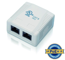 CAT6 SURFACE MOUNTED OUTLET 2PORT UNSHIELDED WHITE