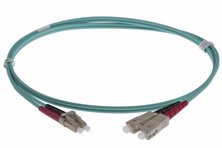LC-SC DUPLEX FIBRE OPTIC PATCH LEADS 7M OM3 Aqua