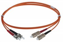 2M SC-ST 50-125UM DUPLEX FIBRE OPTIC PATCH LEADS ORANGE