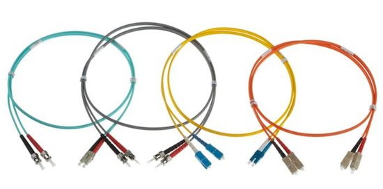25m MTRJ-ST OM3 DUPLEX FIBRE OPTIC PATCH LEADS, AQUA
