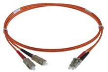 20M LC-SC 50-125UM DUPLEX FIBRE OPTIC PATCH LEADS, ORANGE