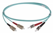 SC-ST DUPLEX FIBRE OPTIC PATCH LEADS 25M OM3 Aqua