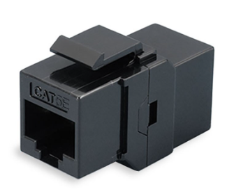 ULTIMA CAT5E KEYSTONE JACK RJ45 COUPLER 180 DEGREE BLACK