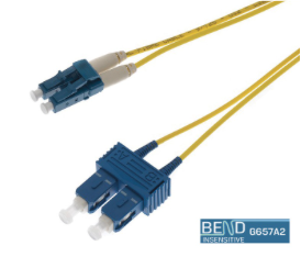 10M LC-SC SINGLEMODE OS2 DUPLEX FIBRE OPTIC PATCH LEADS, YELLOW