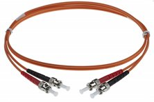 1M ST-ST 50-125UM DUPLEX FIBRE OPTIC PATCH LEADS, ORANGE